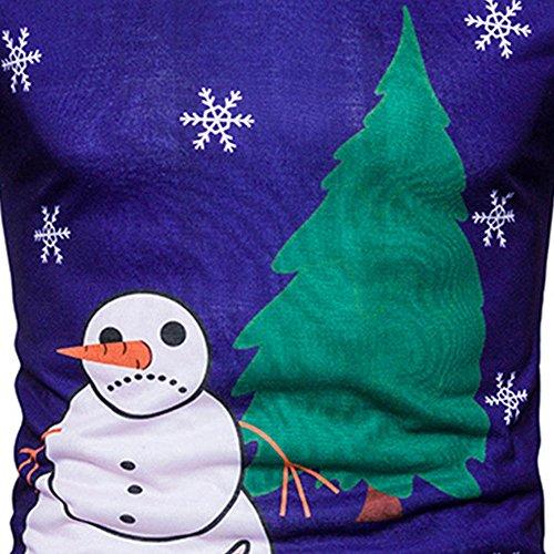 a Magliette Del Natale Blu Lunga Bhydry Printingtop Mens Camicetta Autunno Natale Manicotto Inverno 7tREqFwF8W