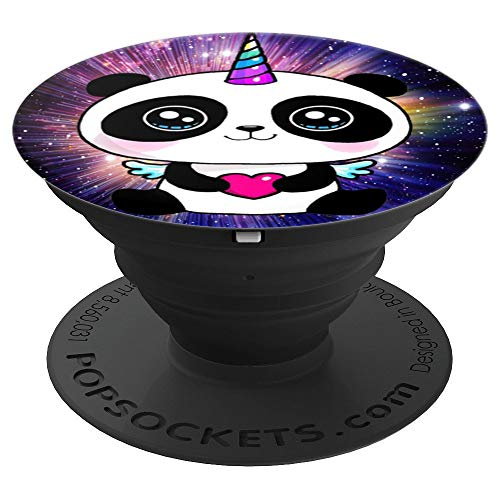 Cute Smiling panda love funny pandacorn unicorn rainbow - PopSockets Grip and Stand for Phones and Tablets ()