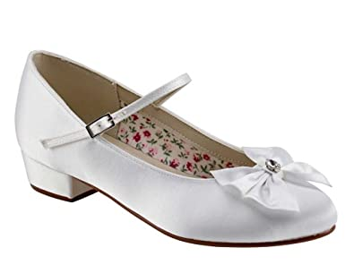 0557890bc27a9 Miss Rainbow Kids Girls Communion Shoes - Honey - White Satin with Ankle  Strap and Bow