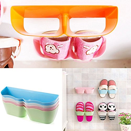 [Sticker Updated]Wall Mounted Shoes Rack 6 PCS, Sticky Shoe Storage Organizer Nail Free, Small Self Adhesive Shoe Shelf Holder, Door Shoe Hangers Without Hole By COZYWELL