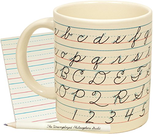 Penmanship Coffee Mug - All of the Cursive Letters as well as Instructions for How to Write Them - Comes in a Fun Gift -