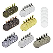 35pcs Pendant Trays Round Bezel with 35 Pieces Glass Cabochon Round Clear Dome, 7 Colors
