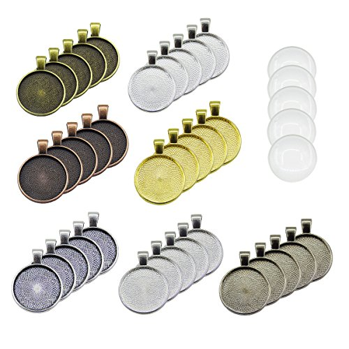 35pcs Pendant Trays Round Bezel with 35 Pieces Glass Cabochon Round Clear Dome, 7 ()