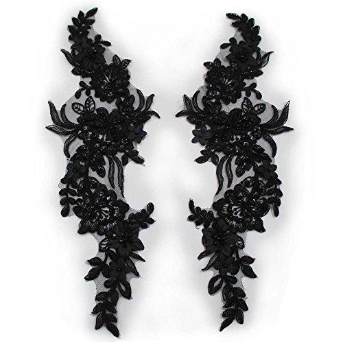 Sequin Beaded Appliques Pair Alencon Lace Flowers