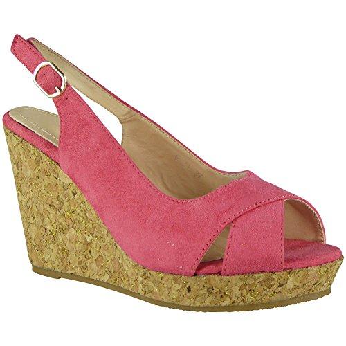 Loud Look Womens Ladies Peeptoe Wedges Slingback Platform Shoes Cork Wedge Sandals Size 3-8 Pink QwNPo4zCey