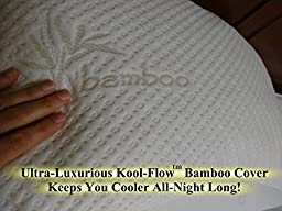 Snuggle-Pedic Ultra-Luxury Bamboo Shredded Memory Foam Pillow Combination With Kool-Flow Micro-Vented Covering - Queen