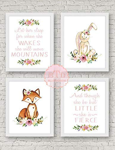 Set of 4 Woodland Fox and Bunny Nursery Wall Art Print with Flowers Baby Girl Room Decor Woodland Nursery art, Fox Art prints, Fox Nursery decor Little But Fierce Move Mountains ()