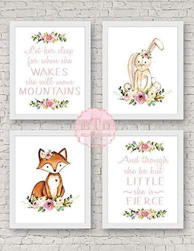 B07GL6NTCD Set of 4 Woodland Fox and Bunny Nursery Wall Art Print with Flowers Baby Girl Room Decor Woodland Nursery art, Fox Art prints, Fox Nursery decor Little But Fierce Move Mountains 51NwL4aY7SL
