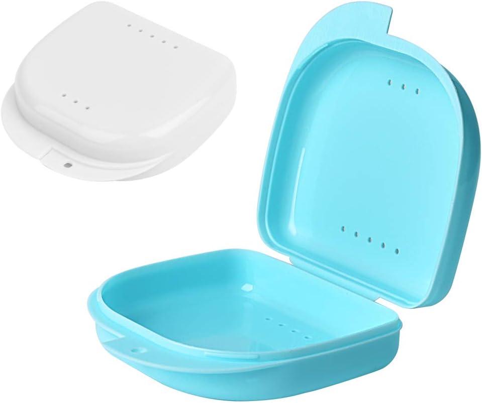 Y-Kelin 2 PCS Retenedor de ortodoncia Contenedor Retenedor Caja de dentadura parcial (Azul claro + blanco): Amazon.es: Salud y cuidado personal