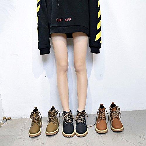Khaki de botas amarillo Zapatos caqui combate exterior Toe de mujer para invierno negro Nubuck de Round Cuero botas ZTqwdC0qx