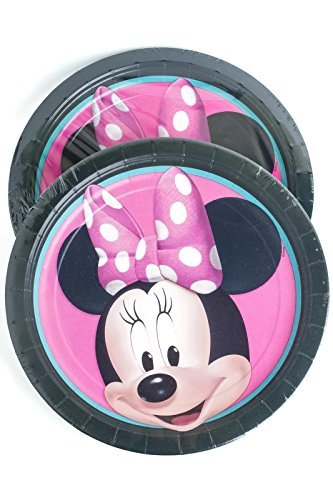 Disney Minnie Mouse Round Lunch Paper Plates (16 Pieces) by (Minnie Mouse Plates)