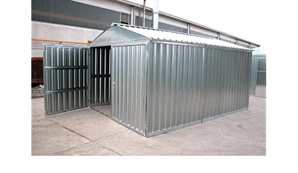 Caseta de chapa galvanizada, con estructura de acero galvanizado, de tamaño en metros 5, 07 x 2, 60 x 2, 11 (altura), con puerta de dos batientes, mod.