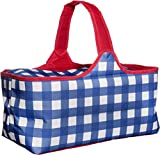 waybags Large Insulated Zippered Picnic Tote Bag - Foldable Gingham Style in Blue, White, Red - Reusable Rectangular Duffle Organizer for Travel Adventure, Boating, Fishing, Sporting Events