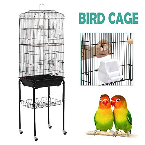 - Yaheetech 59.3'' Rolling Standing Medium Bird Cage for Cockatiel Quaker Parrot Sun Parakeet Green Cheek Conure Finch Budgie Lovebird Parrotlet Canary Pet Bird Cage with Stand, Black