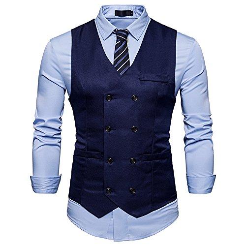 Cyparissus Mens Vest Waistcoat Men's Suit Dress Vest For Men or Tuxedo Vest (L, Dark Blue 2#) by Cyparissus