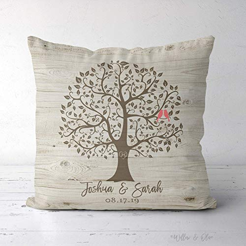 Personalized Family Tree Pillow, Established Date Pillow, Wedding Gift Pillow