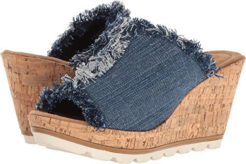Minnetonka Women's, York High Heel Wedge Sandals Denim 11 M