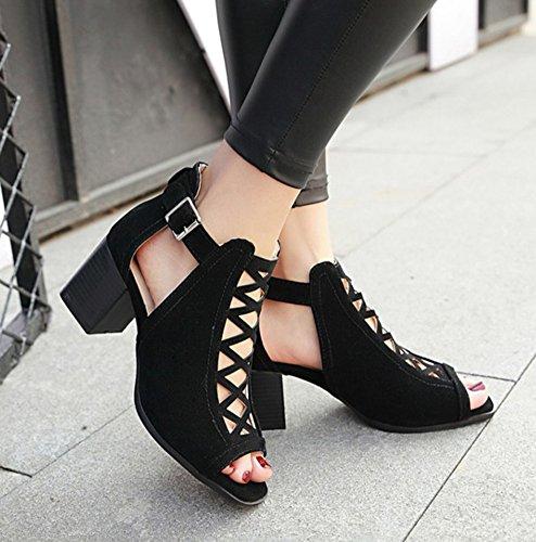 Aisun Donna Elegante Peep Toe Fibbia Tacco Medio Sandali Gladiatore Scarpe Nere