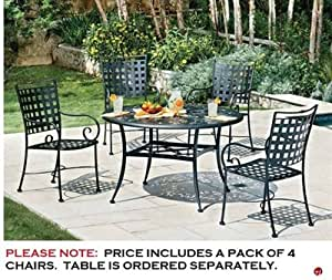 GRID Outdoor Wrought Iron Dining Arm Chair, Pack of 4