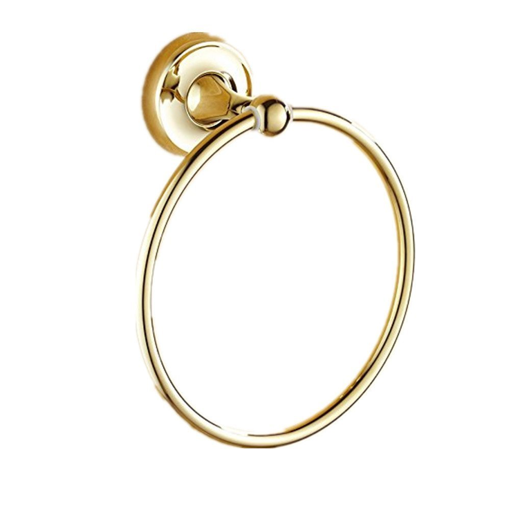 7Trees Bathroom Lavatory Towel Ring Wall Mount Hanging Towel Ring Aluminum Oxide Wall Mounted, Polished Gold