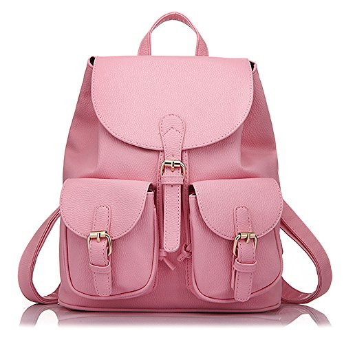 Minetom Pu Cuero Backpack Mochilas Escolares Mochila Escolar Casual Bolsa Viaje Moda Color Sólido Bolsillo Mujer rosa