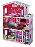 Modern wooden dollhouse and 10 furniture pieces, with elevator - over 3' tall