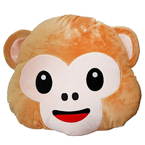 Smiling Monkey Emoji Pillow 12.5 Inch Large Light Brown Smiley Emoticon