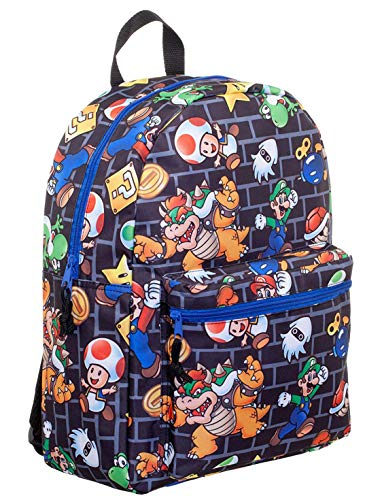 Super Mario All-Over Comic Print 16 Backpack]()