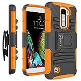 LG K10 Case, LG Premier Case, CoverON [Explorer Series] Holster Hybrid Armor Belt Clip Hard Phone Cover For LG K10 Holster Case - Neon Orange & Black