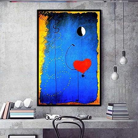 Bailarines Corazón Amor Arte Impresión en lienzo Pintura Joan Miro Abstracto Famoso Cuadro de pared Sala de estar Decoración del hogar Póster 70x95cm (28x37in) Sin marco
