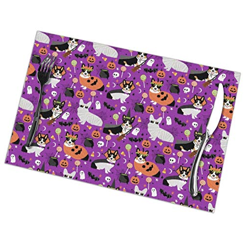 shirt home Placemats Set of 6 Tri-Colored Corgi Halloween Costumes Mummy Vampire 100% Polyester Placemats Washable Heat Insulation Kitchen Table Mats 12x18 in -