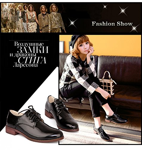 OUOUVALLEY Shoes Faux Women's Leather Patent Oxford Dress Black RwfqBRr