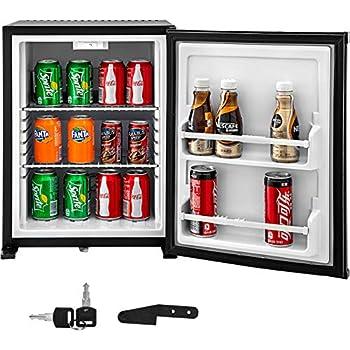 VBENLEM 1cu.ft. 110V Portable Refrigerator AC No Noise Compact Absorption Fridge Black Mini Silent Cooler with Lock Reversible Door for Bedroom Apartment Hotel Hospital Dorm Office