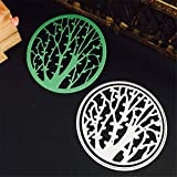 3.3 by 3.3 Inches Circle Tree Embossing Metal