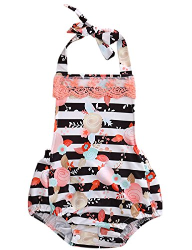 Halter Onesie (CaNIS Newborn Baby Girls Halter Backless Striped Floral Ruffle Lace Romper Sleeveless Bodysuit (12-18M, Black))