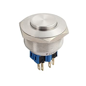 uxcell AC 5A 250V 30mm 1.18 Mounting Thread Flat Round 1NO 1NC DPST Momentary Stainless Steel Metal Waterproof Push Button Switch UL Recognized