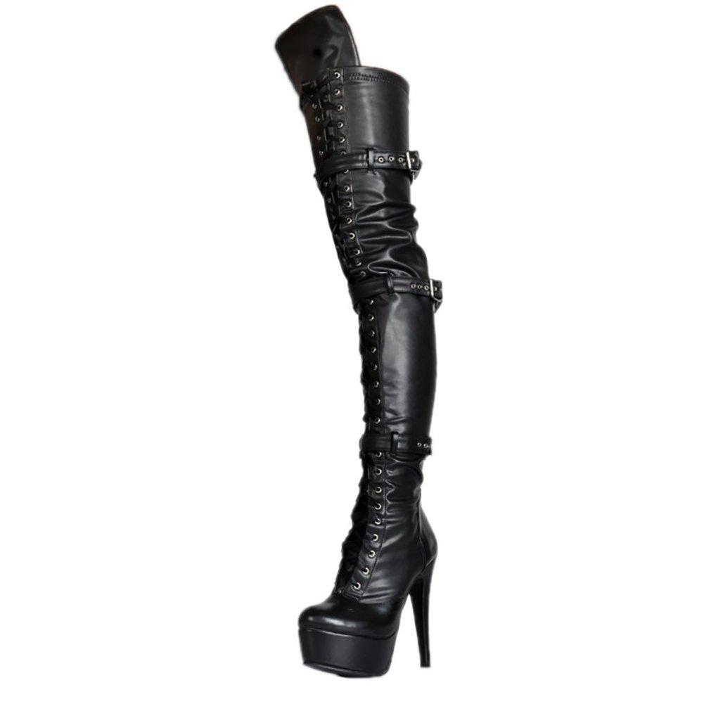 Damen Over Knee Stiefeln,MERUMOTE Sexy High Heels Plattform Schuhe for Party Prom Tanzen Schwarz