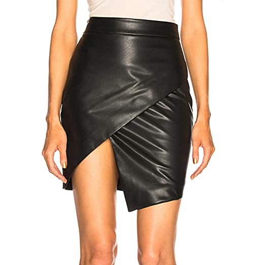 cf4d1977b Henwerd Women's Fashion Solid Bandage Pu Leather Short Skirt High Waist Lace -Up A Line