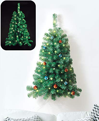 IdeaWorks Wall Mounted Christmas Tree, Lighted, and 3 Feet Tall (Pre Lit Christmas Tree Only Half Lit)