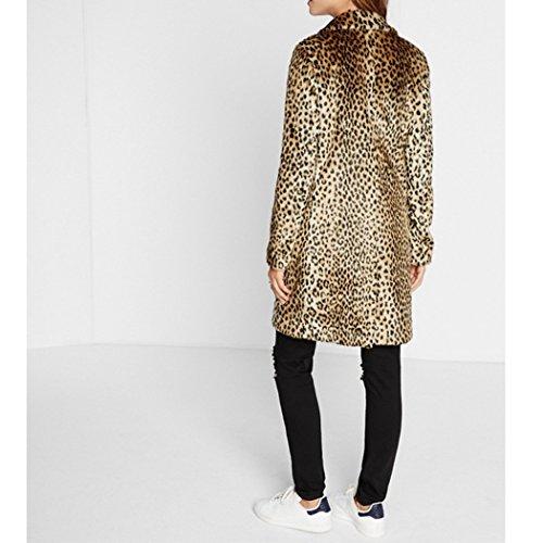 Hiver Fausse Mid Leopard Imprim Chaud HANMAX Longue de Automne Manteau Fourrure Femme c1fwqwx8gA