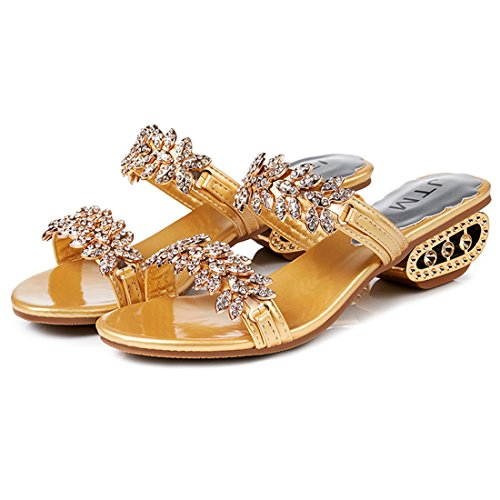 Rhinestone Sandals Slide Open Party Gold Jiyaru Women Beach Slippers Toe Shoes 7pEafcq