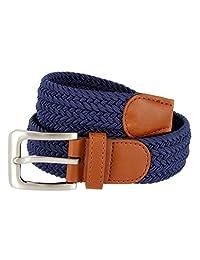Braided Elastic Fabric Woven Stretch Belt Leather Inlay (Navy, Medium)