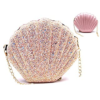 Shining Seashell Shape Double-Side Shoulder Crossbody Bag with Chains(PINK)