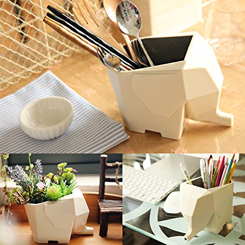 Funny Light Functional Sturdy Elephant Design Plastic Cutlery Drainer Storage Holder Box For