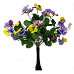 MM-TJ-Products-Artificial-Pansy-Bushes-7-stems-Pack-of-2-Vase-Black