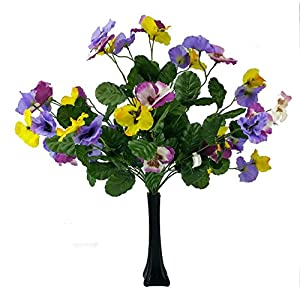 MM TJ Products Artificial Pansy Bushes: 7 stems Pack of 2 + Vase (Black) 43