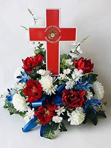 Eternal Light - Solar Lighted Cross - Marine Cemetery Veteran Memorial Grave Garden Decoration