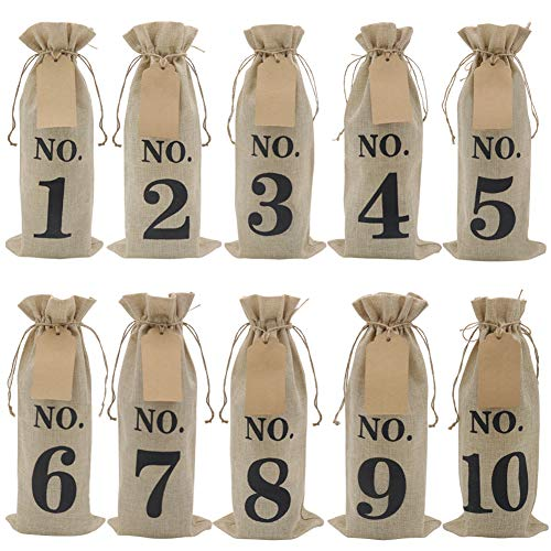 Tasting Party Supplies (HRX Package 10pcs Burlap Wine Bags with Tags for Blind Wine Tasting, Numbered Hessian Cloth Glass Bottle Gift Bags for Christmas Wedding Party)