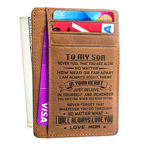 Engraved Wallet Gift for Son Daughter from Dad Mom Leather Front Pocket Wallet RFID Blocking for Birthday