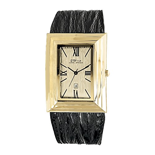 Deco Timepiece Fashion Watch - Daniel Steiger Deco Drive Luxury Leather Art Deco Gold Watch - Water Resistant - Premium grade stainless steel case - Black Leather Strap - Date window - Unisex
